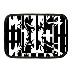 Black And White Abstraction Netbook Case (medium)  by Valentinaart