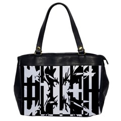 Black And White Abstraction Office Handbags by Valentinaart