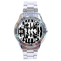 Black and white abstraction Stainless Steel Analogue Watch