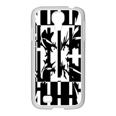 Black And White Abstraction Samsung Galaxy S4 I9500/ I9505 Case (white) by Valentinaart