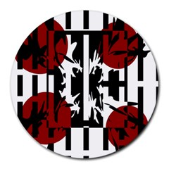 Red, Black And White Elegant Design Round Mousepads by Valentinaart