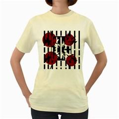 Red, Black And White Elegant Design Women s Yellow T Shirt