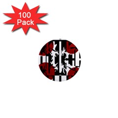 Red, Black And White Elegant Design 1  Mini Magnets (100 Pack)  by Valentinaart