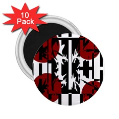 Red, Black And White Elegant Design 2 25  Magnets (10 Pack)  by Valentinaart