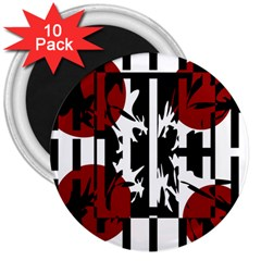 Red, Black And White Elegant Design 3  Magnets (10 Pack)  by Valentinaart