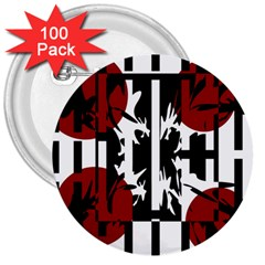 Red, Black And White Elegant Design 3  Buttons (100 Pack)  by Valentinaart