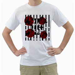 Red, Black And White Elegant Design Men s T Shirt (white) (two Sided) by Valentinaart