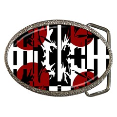 Red, Black And White Elegant Design Belt Buckles by Valentinaart