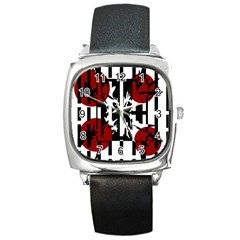 Red, Black And White Elegant Design Square Metal Watch by Valentinaart
