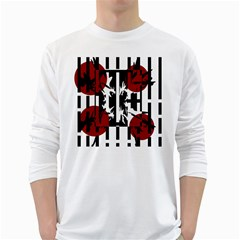 Red, Black And White Elegant Design White Long Sleeve T Shirts by Valentinaart