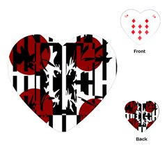 Red, Black And White Elegant Design Playing Cards (heart)  by Valentinaart