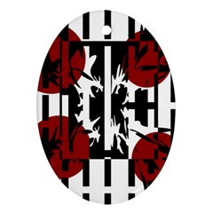 Red, Black And White Elegant Design Oval Ornament (two Sides) by Valentinaart