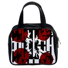 Red, Black And White Elegant Design Classic Handbags (2 Sides) by Valentinaart