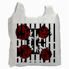 Red, Black And White Elegant Design Recycle Bag (two Side)  by Valentinaart