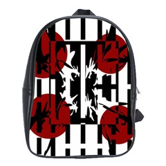 Red, Black And White Elegant Design School Bags(large)  by Valentinaart