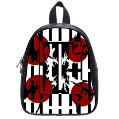 Red, Black And White Elegant Design School Bags (small)  by Valentinaart
