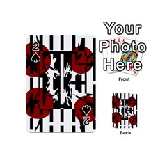 Red, Black And White Elegant Design Playing Cards 54 (mini)  by Valentinaart