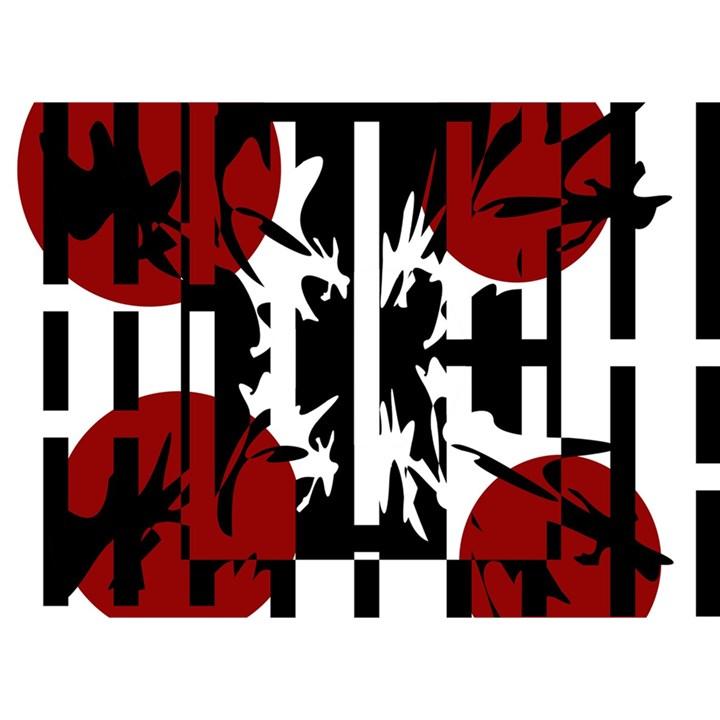Red, black and white elegant design Birthday Cake 3D Greeting Card (7x5)