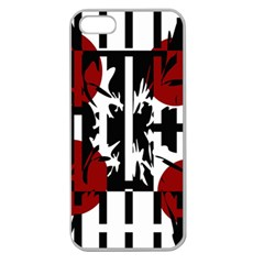 Red, Black And White Elegant Design Apple Seamless Iphone 5 Case (clear) by Valentinaart