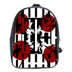 Red, Black And White Elegant Design School Bags (xl)  by Valentinaart