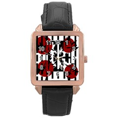 Red, Black And White Elegant Design Rose Gold Leather Watch  by Valentinaart