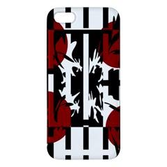 Red, Black And White Elegant Design Apple Iphone 5 Premium Hardshell Case by Valentinaart