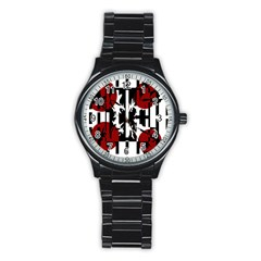 Red, Black And White Elegant Design Stainless Steel Round Watch by Valentinaart
