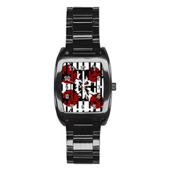 Red, Black And White Elegant Design Stainless Steel Barrel Watch by Valentinaart