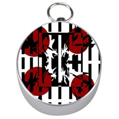 Red, Black And White Elegant Design Silver Compasses by Valentinaart