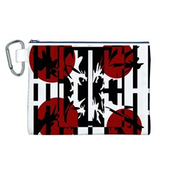 Red, Black And White Elegant Design Canvas Cosmetic Bag (l) by Valentinaart