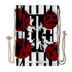 Red, Black And White Elegant Design Drawstring Bag (large) by Valentinaart