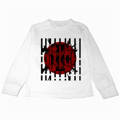 Red, Black And White Decorative Design Kids Long Sleeve T Shirts by Valentinaart