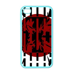 Red, Black And White Decorative Design Apple Iphone 4 Case (color) by Valentinaart