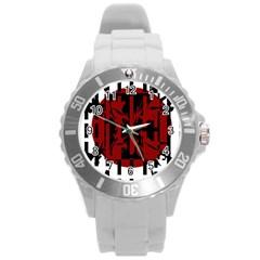 Red, Black And White Decorative Design Round Plastic Sport Watch (l) by Valentinaart