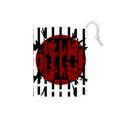 Red, Black And White Decorative Design Drawstring Pouches (small)  by Valentinaart