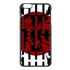 Red, Black And White Decorative Design Apple Iphone 6 Plus/6s Plus Black Enamel Case by Valentinaart