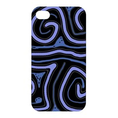 Blue Abstract Design Apple Iphone 4/4s Premium Hardshell Case by Valentinaart