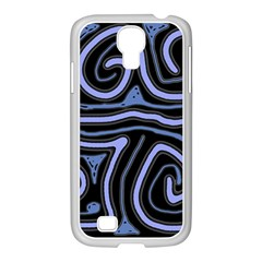 Blue Abstract Design Samsung Galaxy S4 I9500/ I9505 Case (white) by Valentinaart