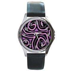 Purple Neon Lines Round Metal Watch by Valentinaart