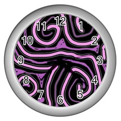 Purple neon lines Wall Clocks (Silver)