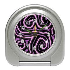 Purple Neon Lines Travel Alarm Clocks by Valentinaart