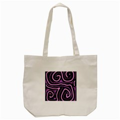 Purple Neon Lines Tote Bag (cream) by Valentinaart
