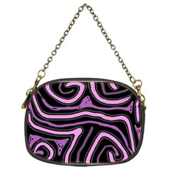 Purple Neon Lines Chain Purses (two Sides)  by Valentinaart