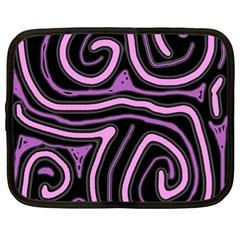 Purple Neon Lines Netbook Case (xl)  by Valentinaart