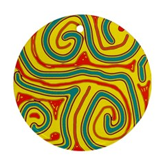 Colorful Decorative Lines Ornament (round)  by Valentinaart