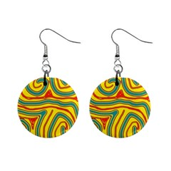 Colorful Decorative Lines Mini Button Earrings by Valentinaart