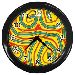 Colorful Decorative Lines Wall Clocks (black) by Valentinaart