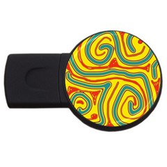 Colorful Decorative Lines Usb Flash Drive Round (2 Gb)  by Valentinaart