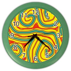 Colorful Decorative Lines Color Wall Clocks by Valentinaart