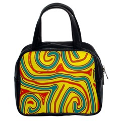 Colorful Decorative Lines Classic Handbags (2 Sides) by Valentinaart